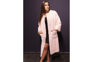 Пальто из норки розовое удлиненное