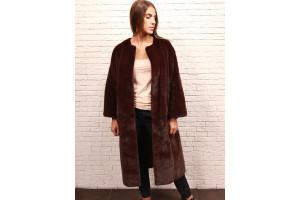 Пальто из норки винный цвет удлиненное