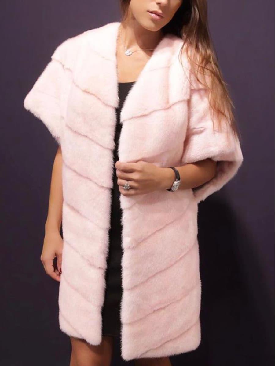 Жилет из норки розовый удлиненный
